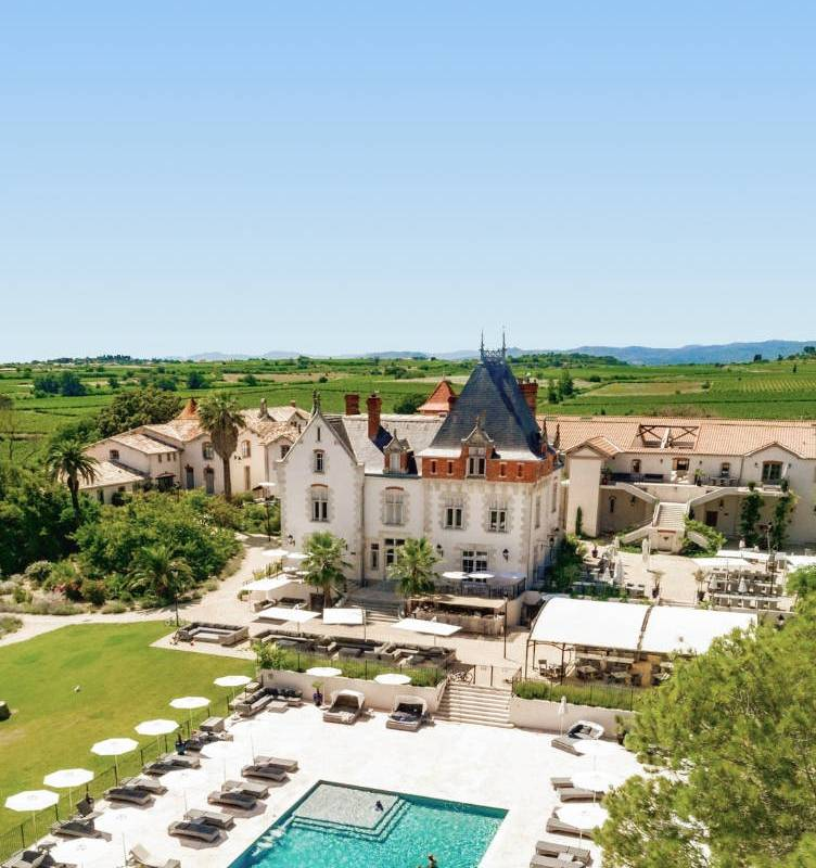 Castle with swimming pool sky view, Languedoc vineyard, Domaine et Demeure