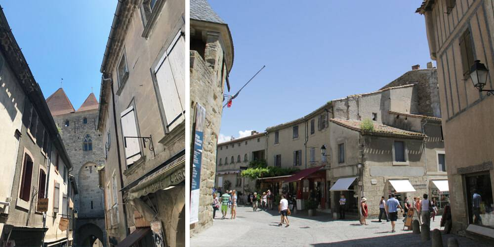 Carcassonne's street, close to our hotel spa near Pézenas, Château St pierre de Serjac.