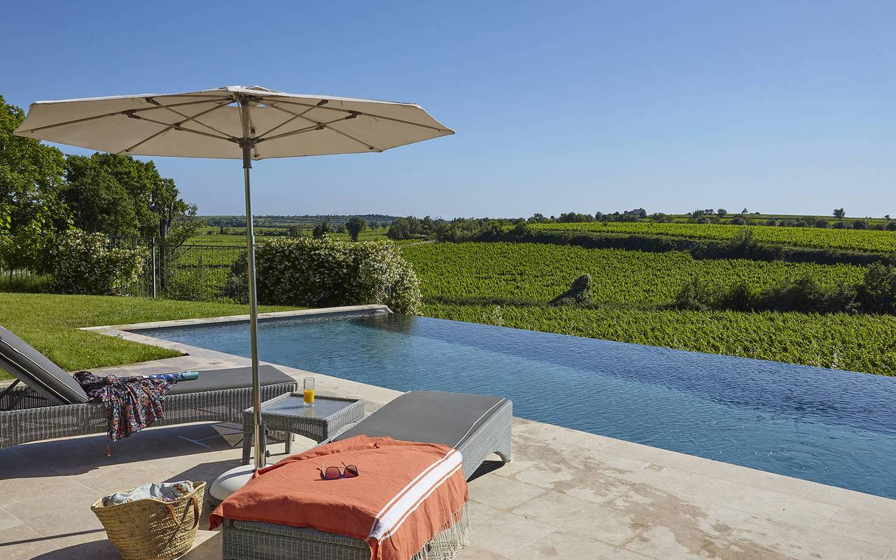 Swimming pool with view on the vineyards, hotel spa herault, Domaine & Demeure