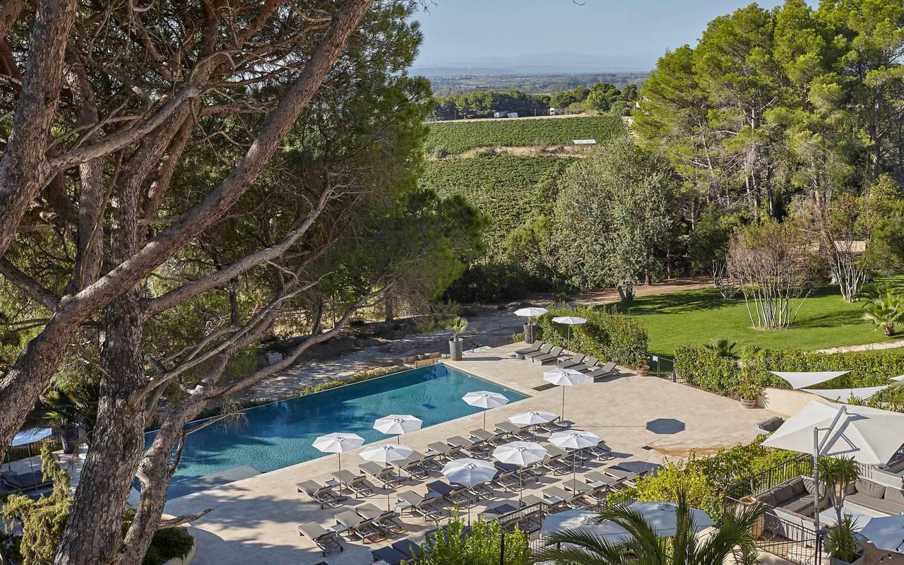 Grande piscine dans le jardin, vignoble languedoc, Domaine et Demeure