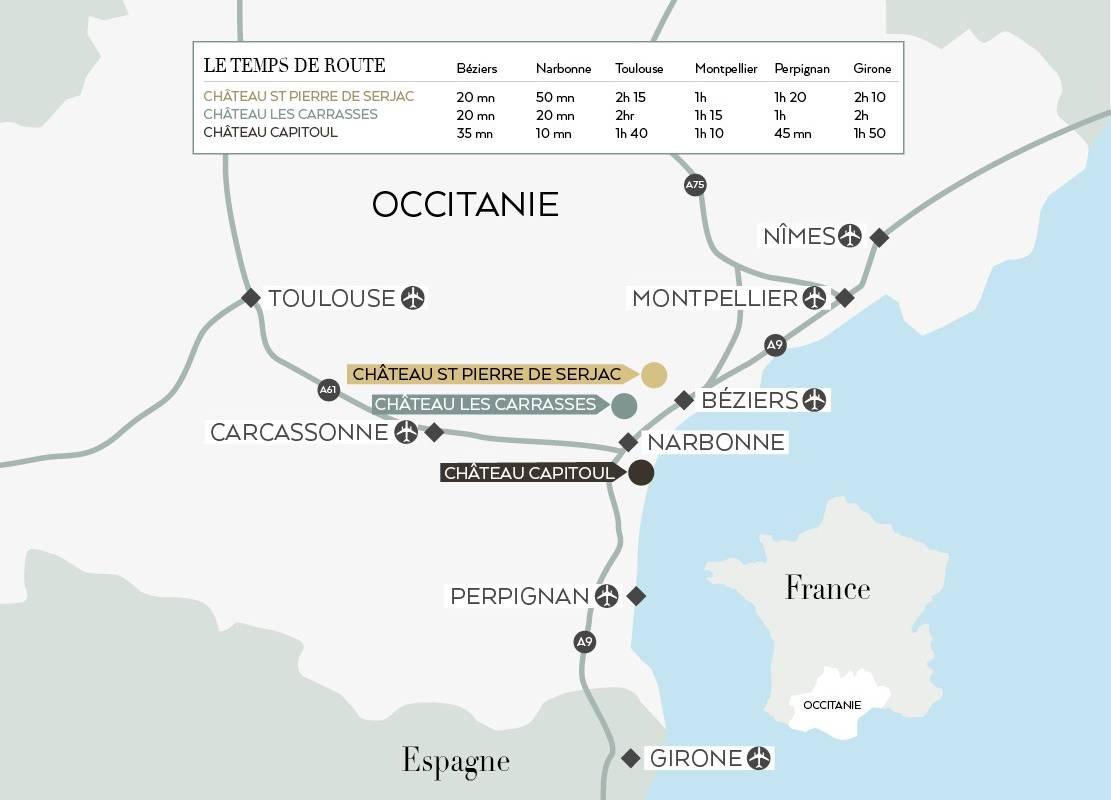 carte et accés, vignoble languedoc, Domaine et Demeure