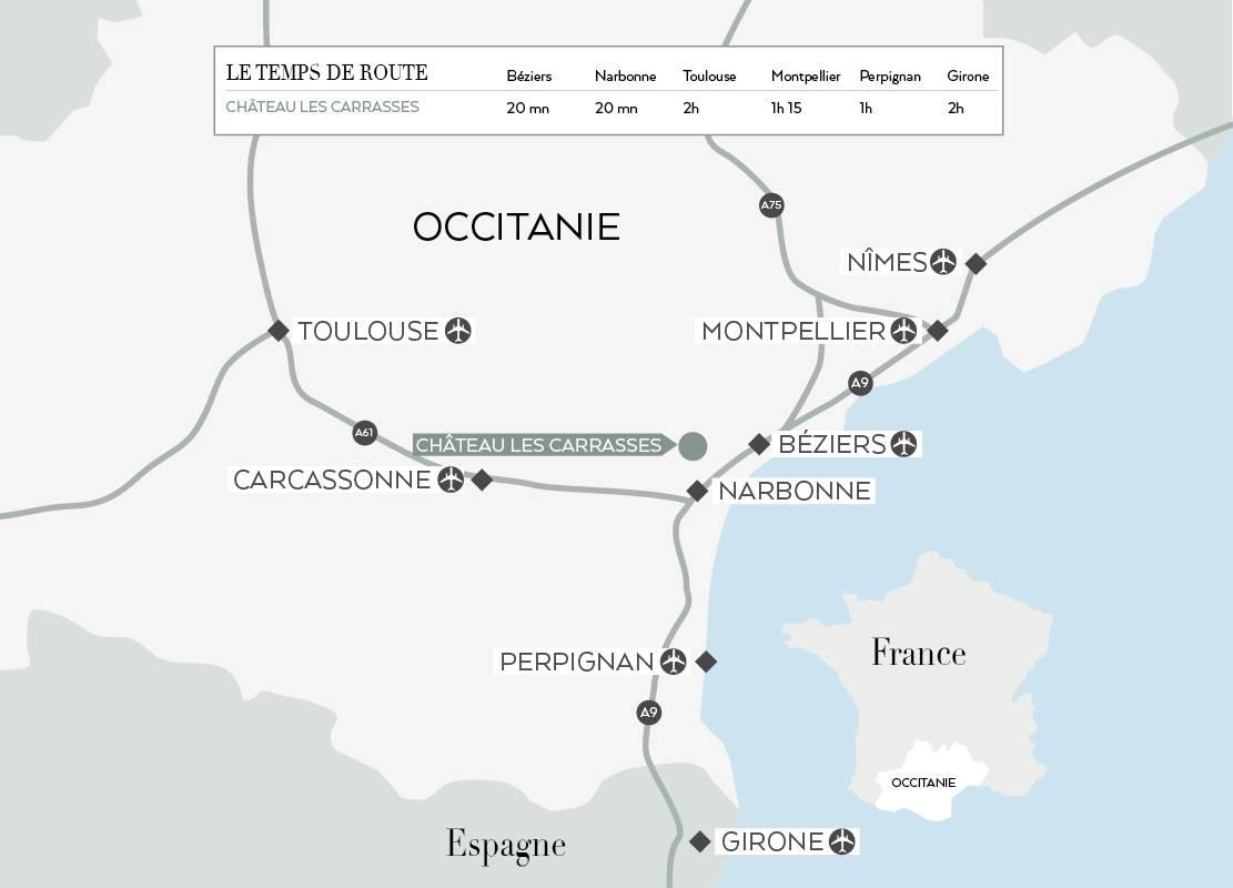 carte du languedoc, hébergement insolite Occitanie, Domaine & Demeure