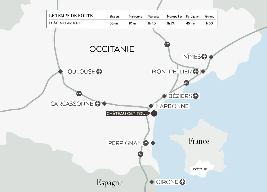 Carte d'accès, hôtel Occitanie Narbonne, Domaine et Demeure
